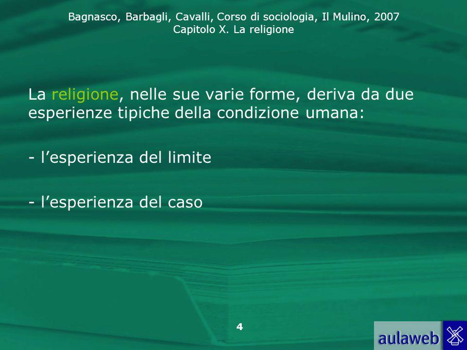 La religione, nelle sue varie forme, deriva da due esperienze tipiche della condizione umana: