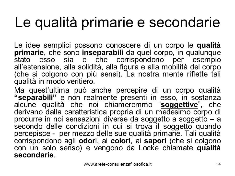 Le qualità primarie e secondarie
