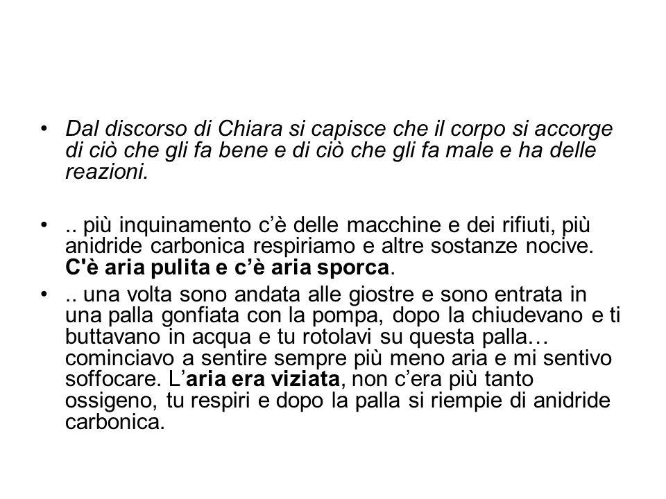 Dal discorso di Chiara si capisce che il corpo si accorge di ciò che gli fa bene e di ciò che gli fa male e ha delle reazioni.