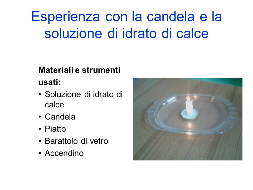 Esperienza con la candela e la soluzione di idrato di calce