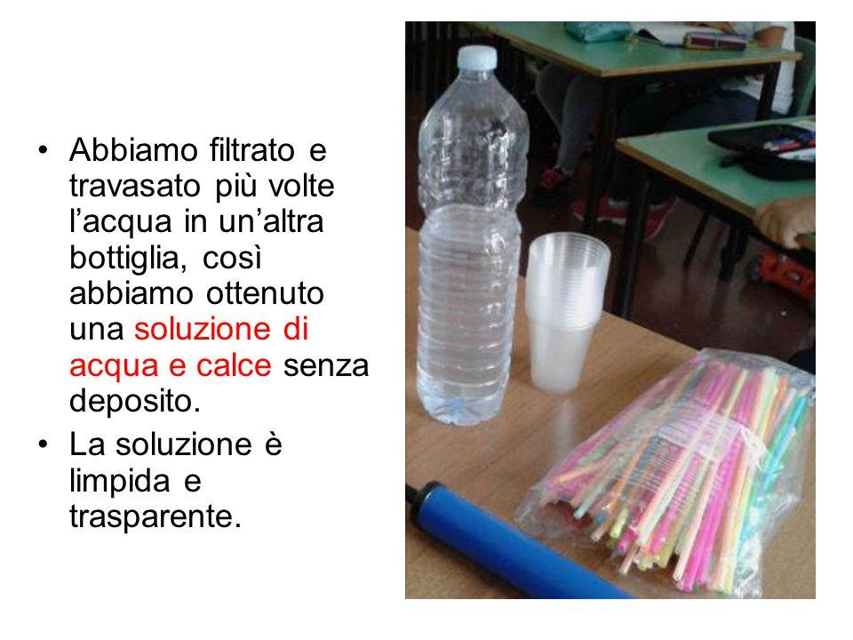 Abbiamo filtrato e travasato più volte l'acqua in un'altra bottiglia, così abbiamo ottenuto una soluzione di acqua e calce senza deposito.