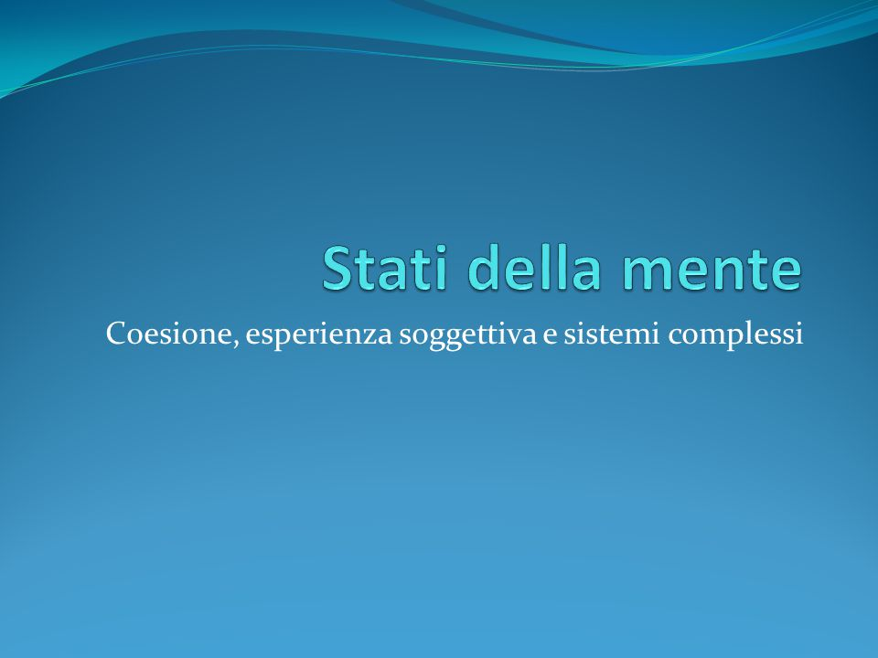 Coesione, esperienza soggettiva e sistemi complessi