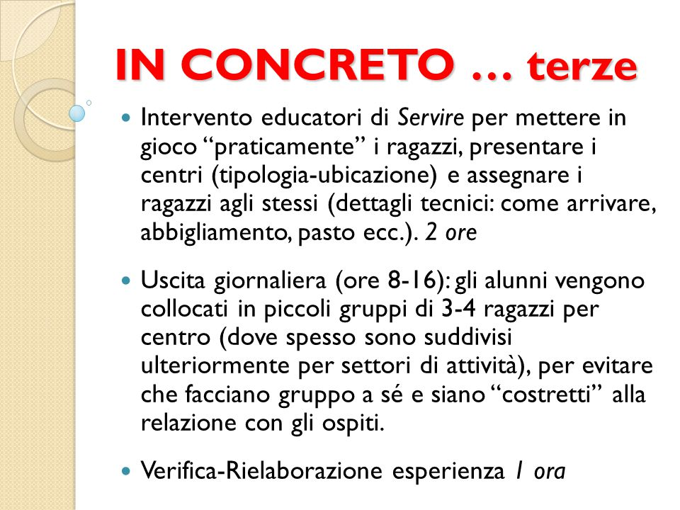 IN CONCRETO … terze