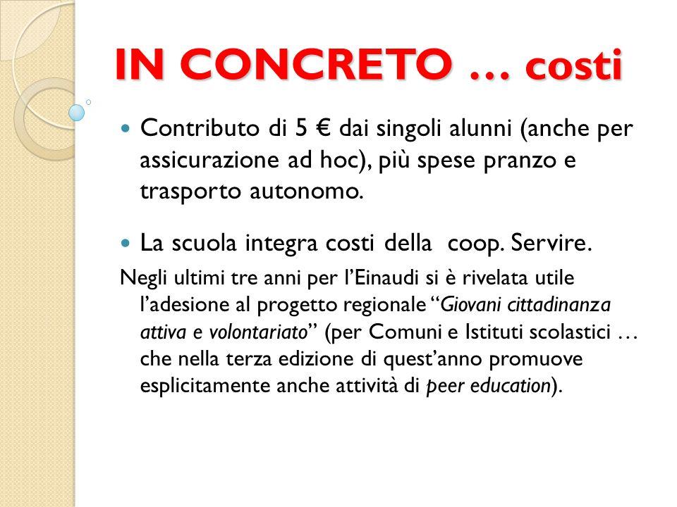 IN CONCRETO … costi Contributo di 5 € dai singoli alunni (anche per assicurazione ad hoc), più spese pranzo e trasporto autonomo.
