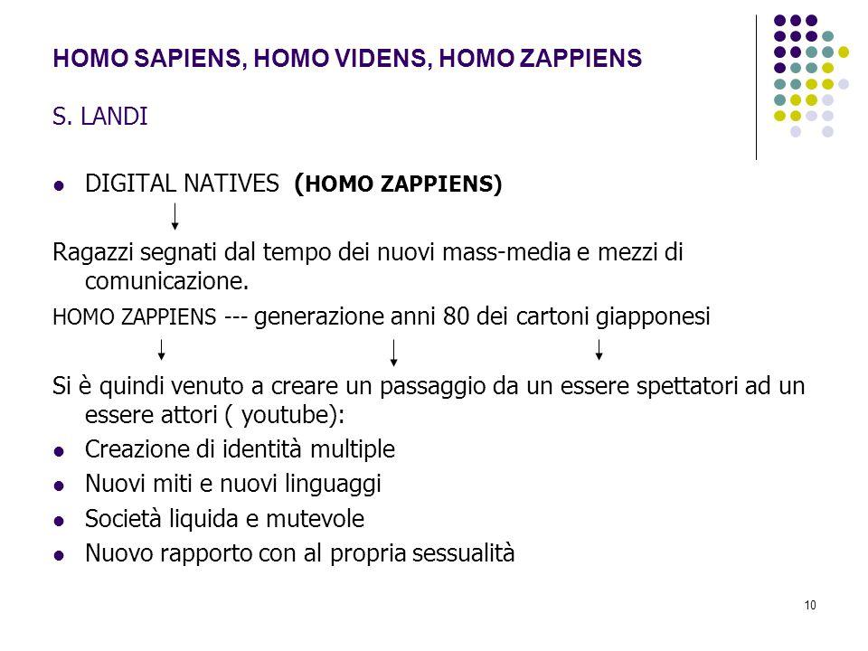 HOMO SAPIENS, HOMO VIDENS, HOMO ZAPPIENS S. LANDI