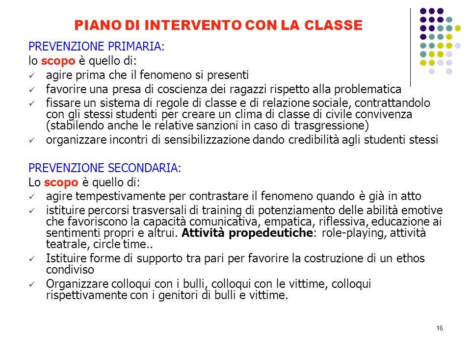 PIANO DI INTERVENTO CON LA CLASSE