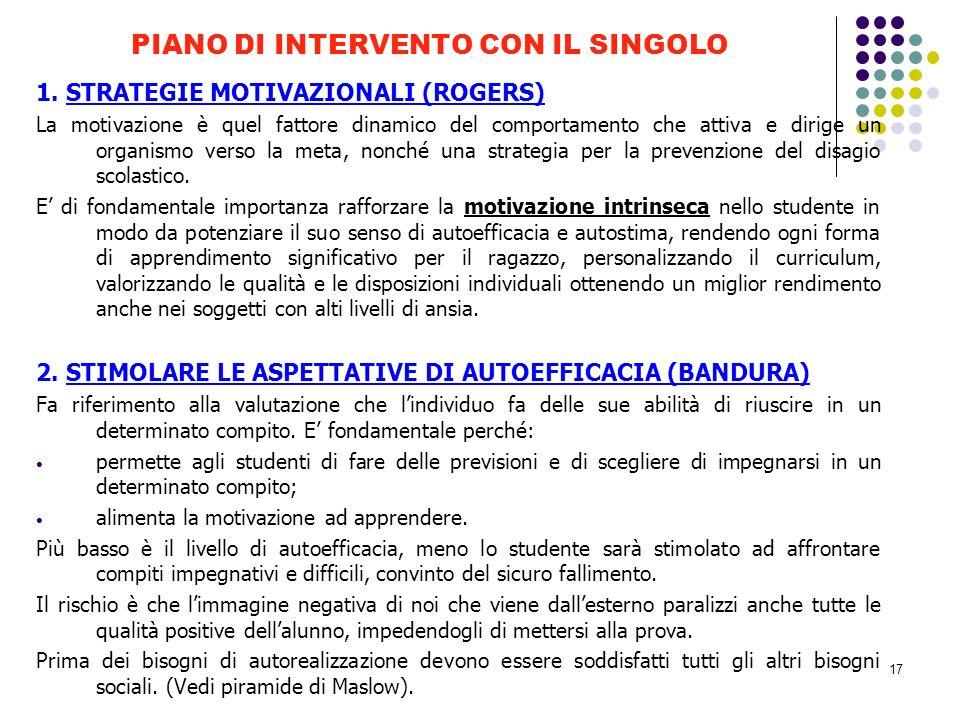 PIANO DI INTERVENTO CON IL SINGOLO