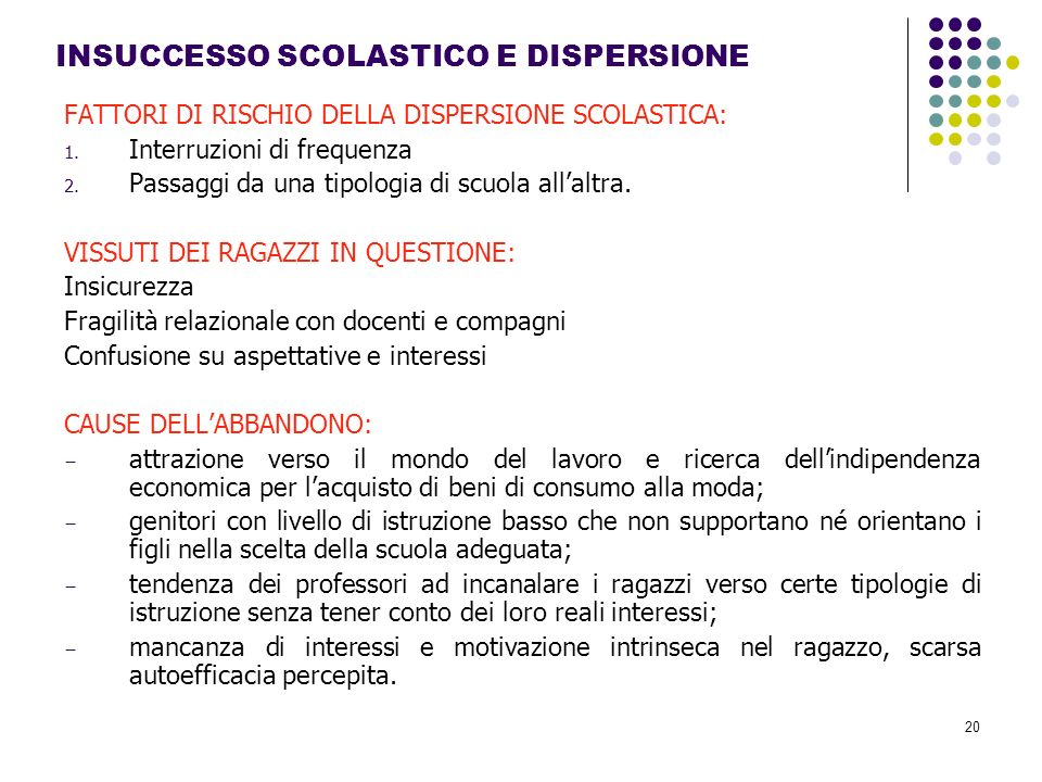 INSUCCESSO SCOLASTICO E DISPERSIONE