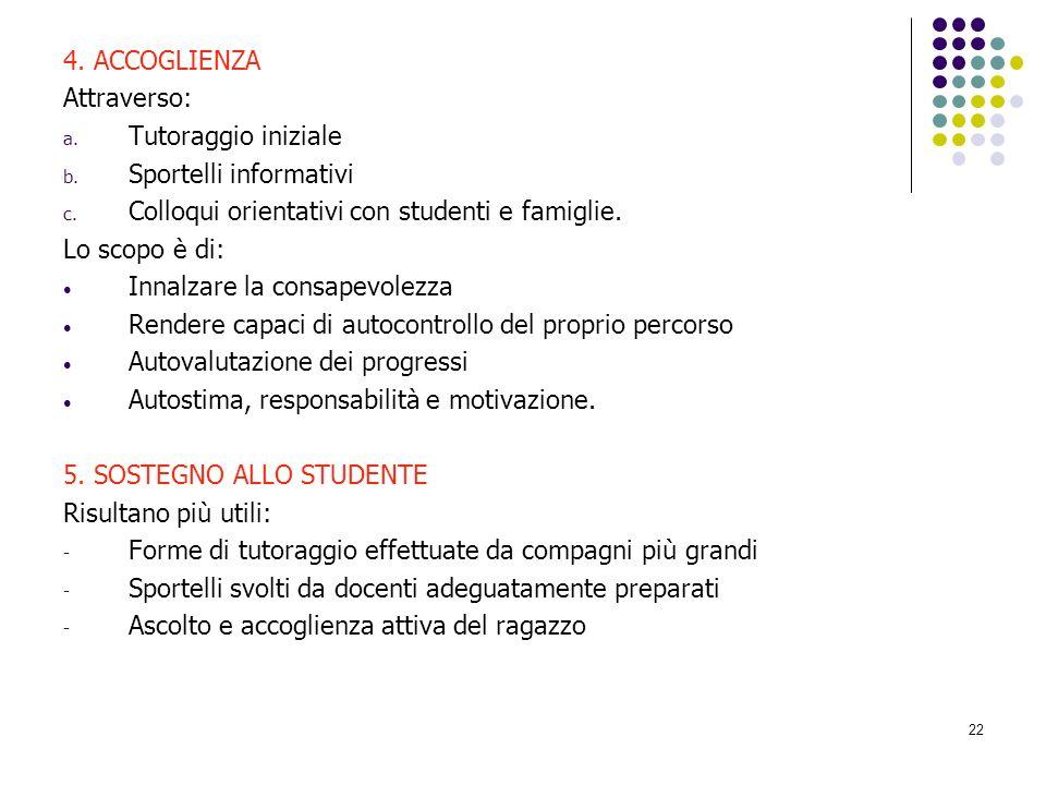 4. ACCOGLIENZA Attraverso: Tutoraggio iniziale. Sportelli informativi. Colloqui orientativi con studenti e famiglie.