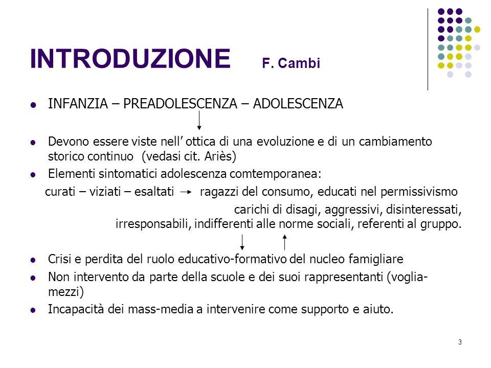 INTRODUZIONE F. Cambi INFANZIA – PREADOLESCENZA – ADOLESCENZA
