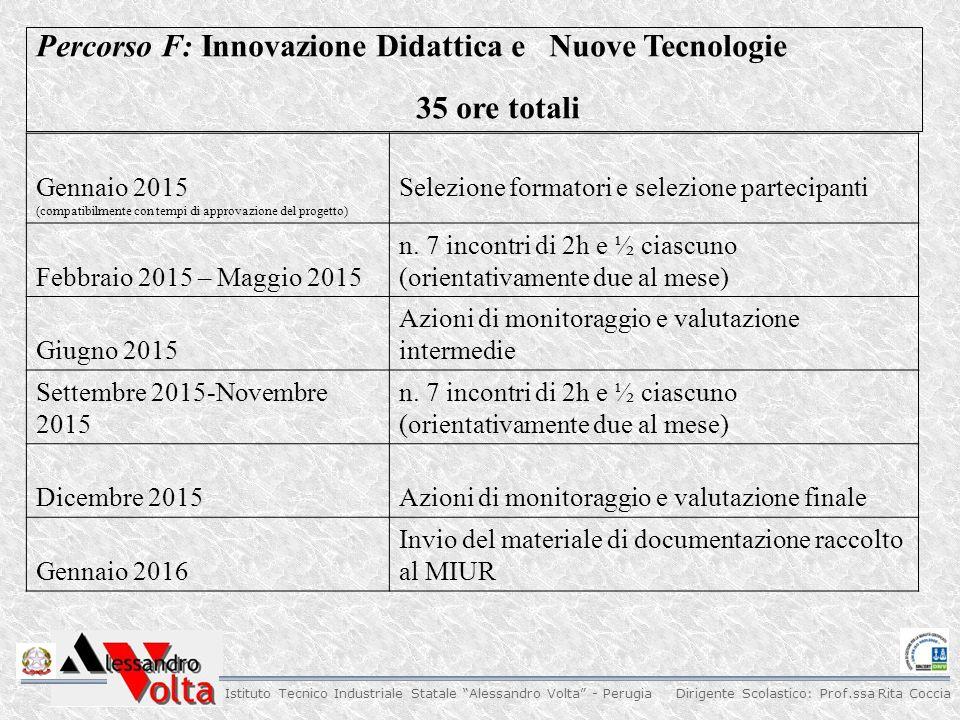 Percorso F: Innovazione Didattica e Nuove Tecnologie 35 ore totali