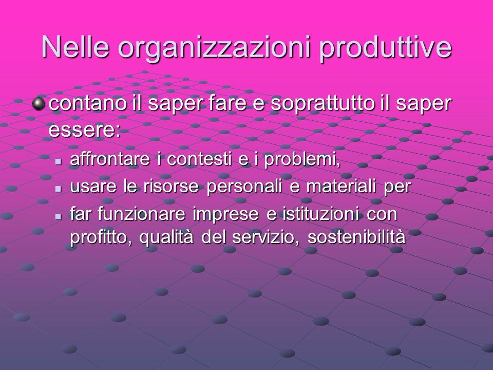 Nelle organizzazioni produttive