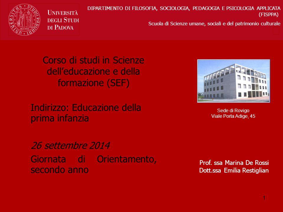 Corso di studi in Scienze dell'educazione e della formazione (SEF)