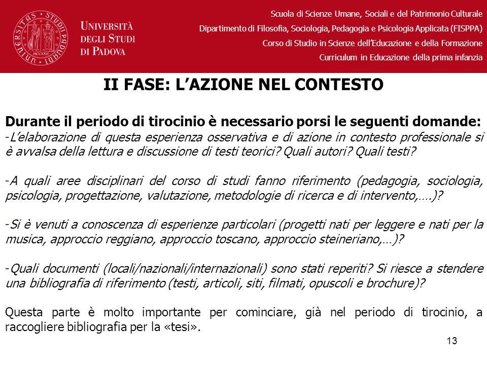 II FASE: L'AZIONE NEL CONTESTO