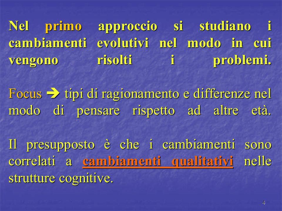 Nel primo approccio si studiano i cambiamenti evolutivi nel modo in cui vengono risolti i problemi.