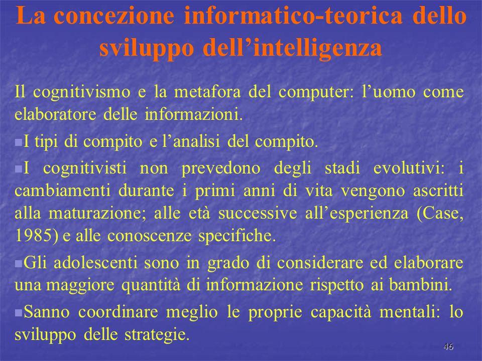 La concezione informatico-teorica dello sviluppo dell'intelligenza