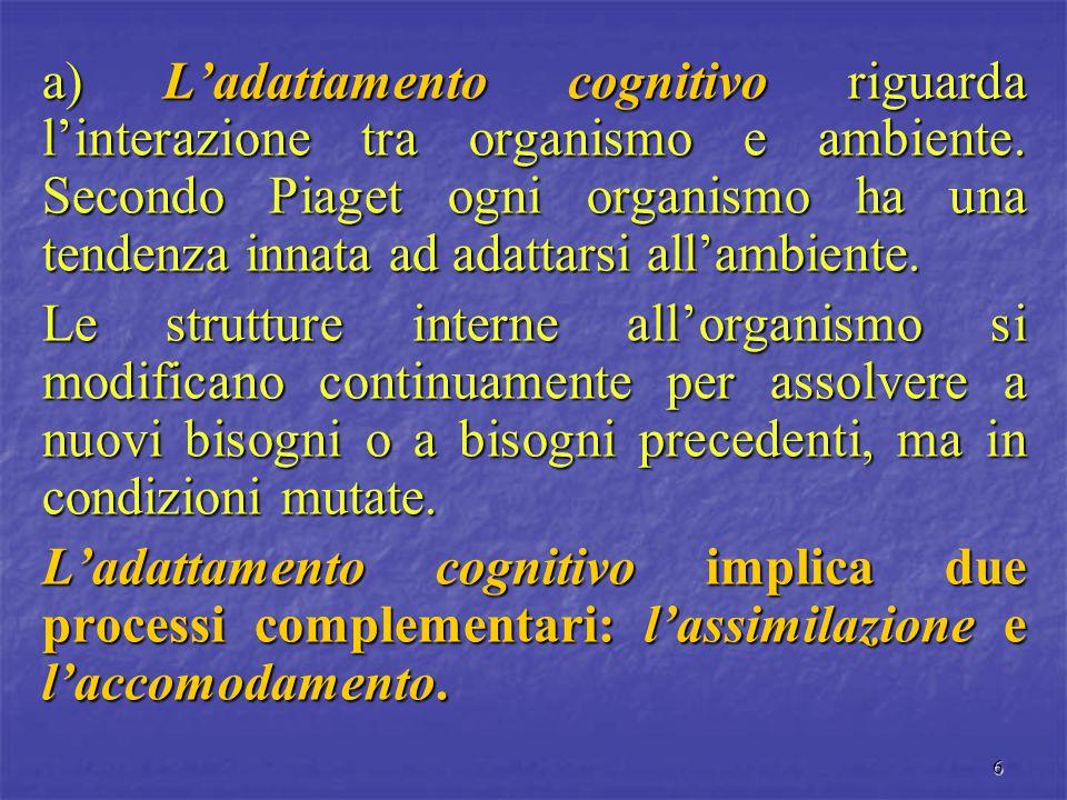 a) L'adattamento cognitivo riguarda l'interazione tra organismo e ambiente. Secondo Piaget ogni organismo ha una tendenza innata ad adattarsi all'ambiente.