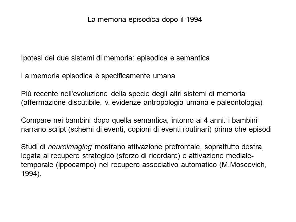 La memoria episodica dopo il 1994