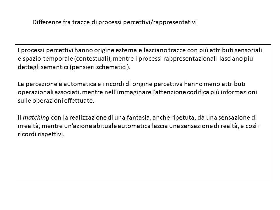 Differenze fra tracce di processi percettivi/rappresentativi