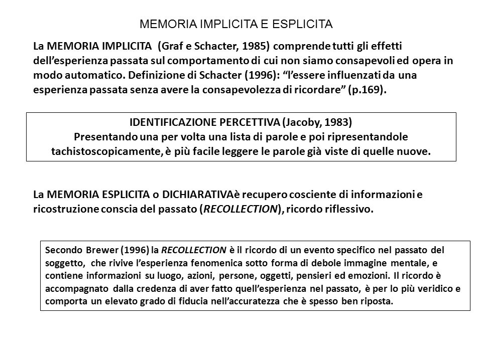 IDENTIFICAZIONE PERCETTIVA (Jacoby, 1983)