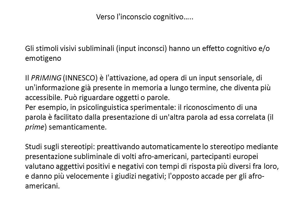 Verso l'inconscio cognitivo…..