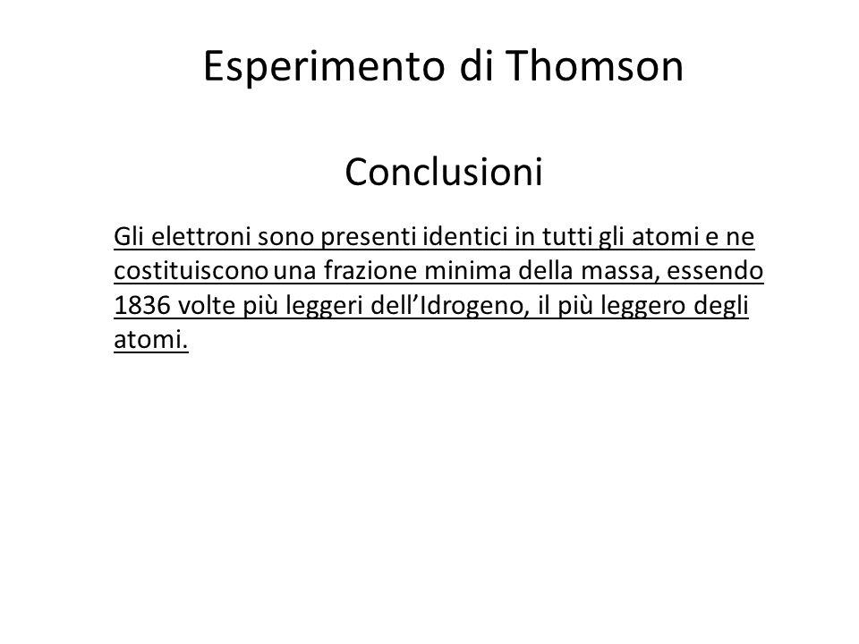 Esperimento di Thomson Conclusioni