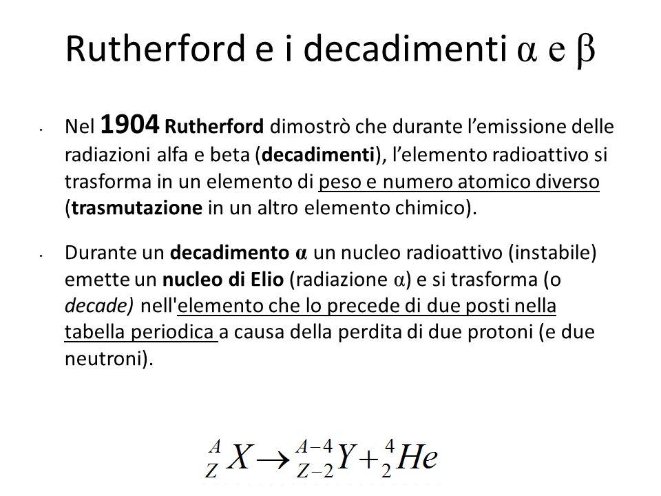 Rutherford e i decadimenti α e β