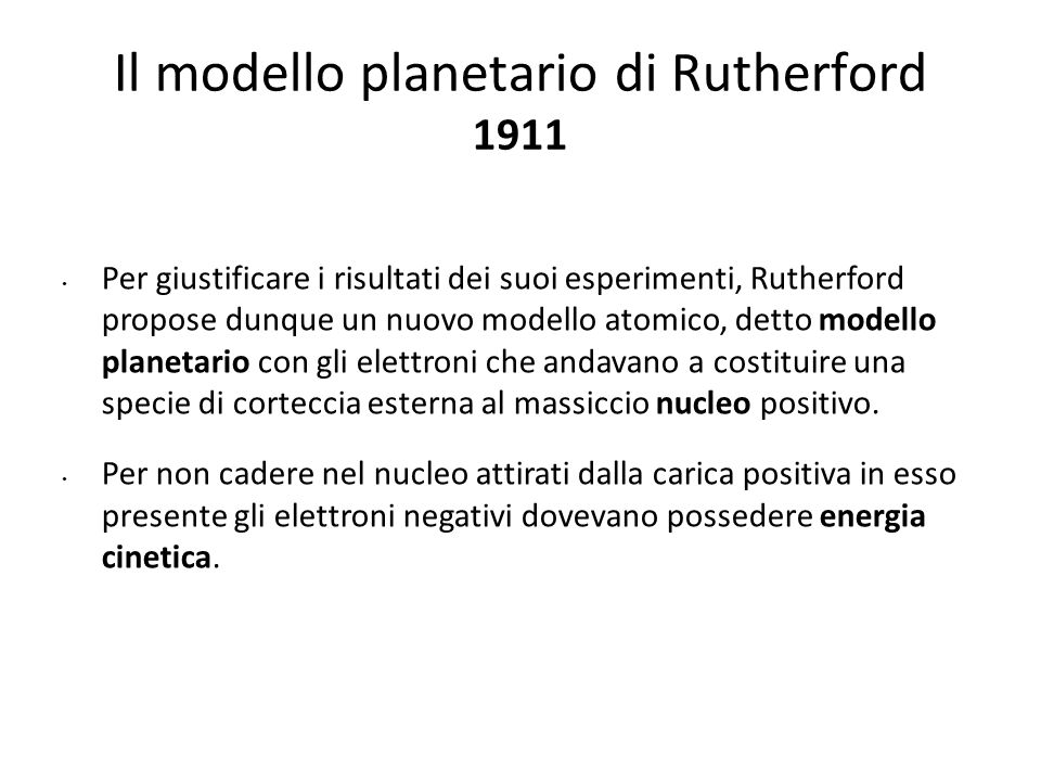 Il modello planetario di Rutherford 1911