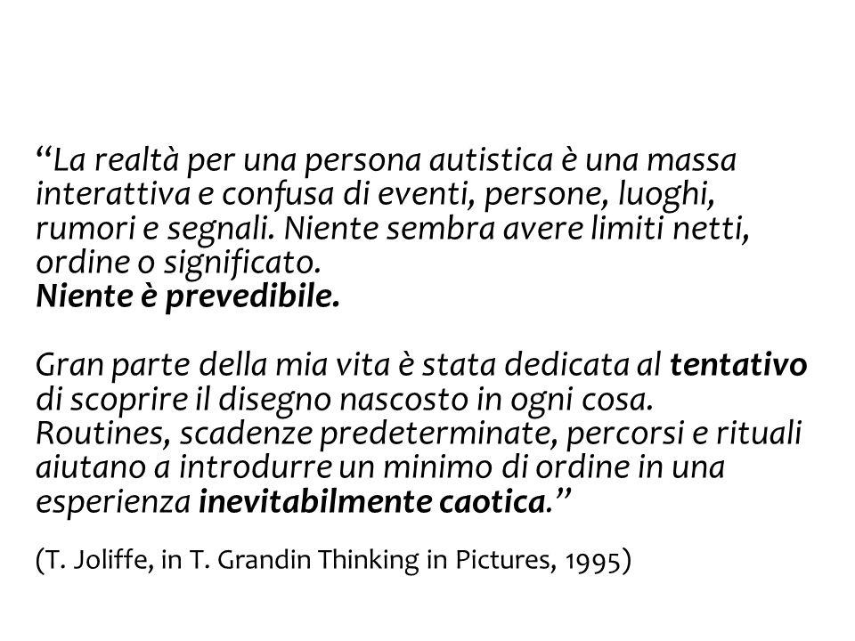 La realtà per una persona autistica è una massa interattiva e confusa di eventi, persone, luoghi, rumori e segnali. Niente sembra avere limiti netti, ordine o significato.