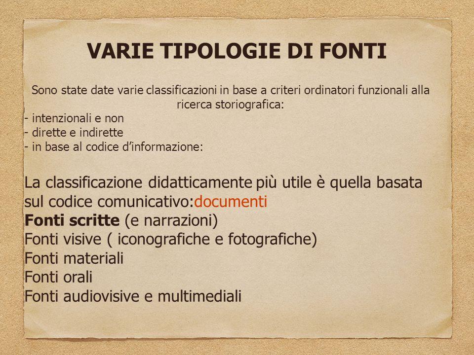VARIE TIPOLOGIE DI FONTI