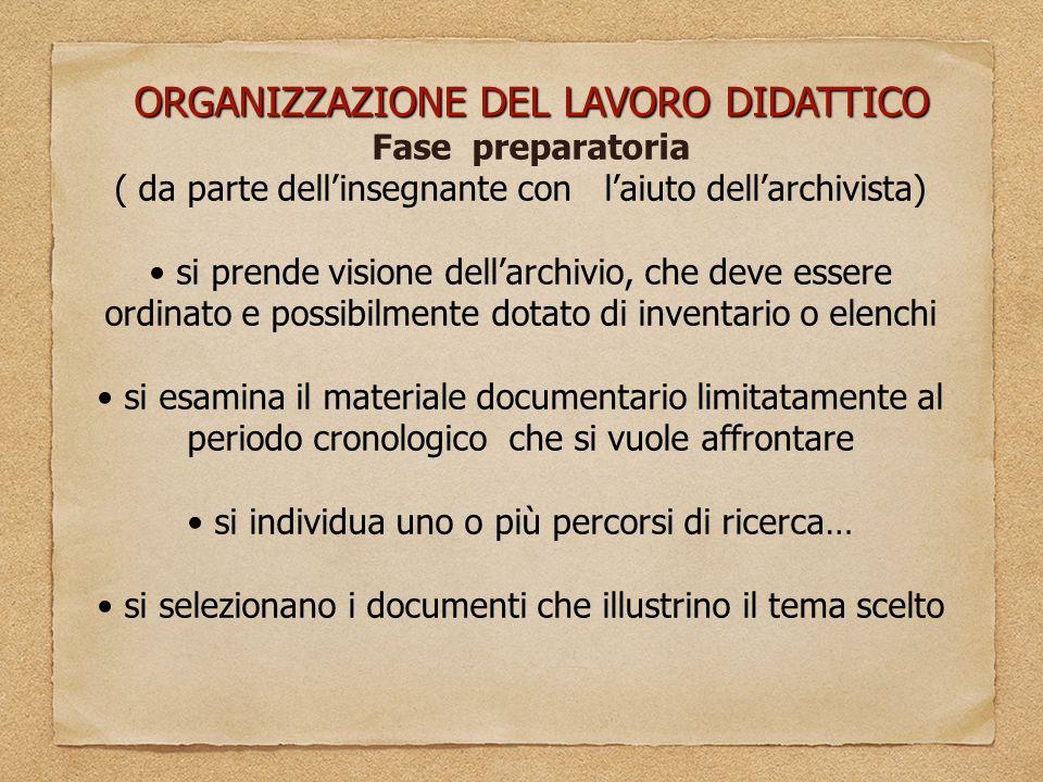 ORGANIZZAZIONE DEL LAVORO DIDATTICO Fase preparatoria