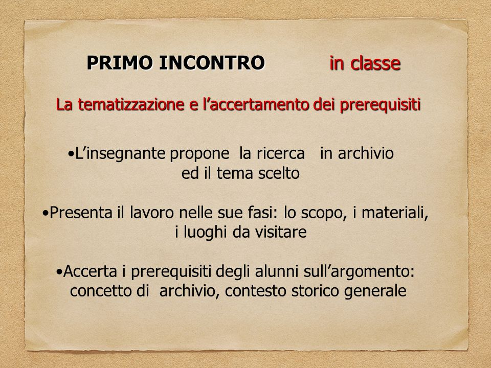 PRIMO INCONTRO in classe