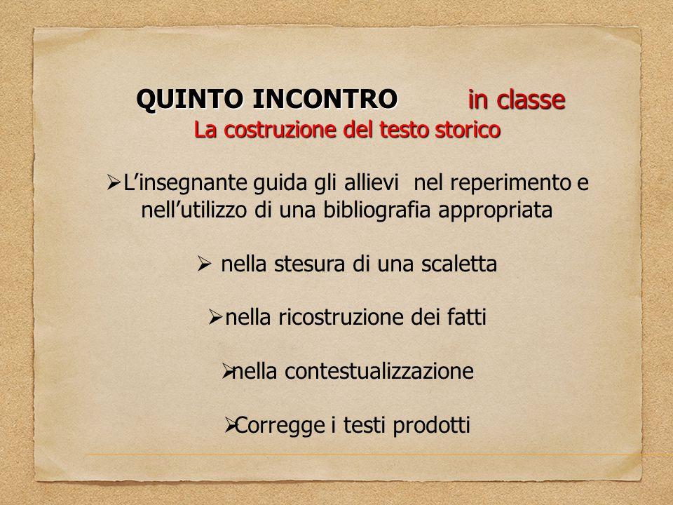 QUINTO INCONTRO in classe
