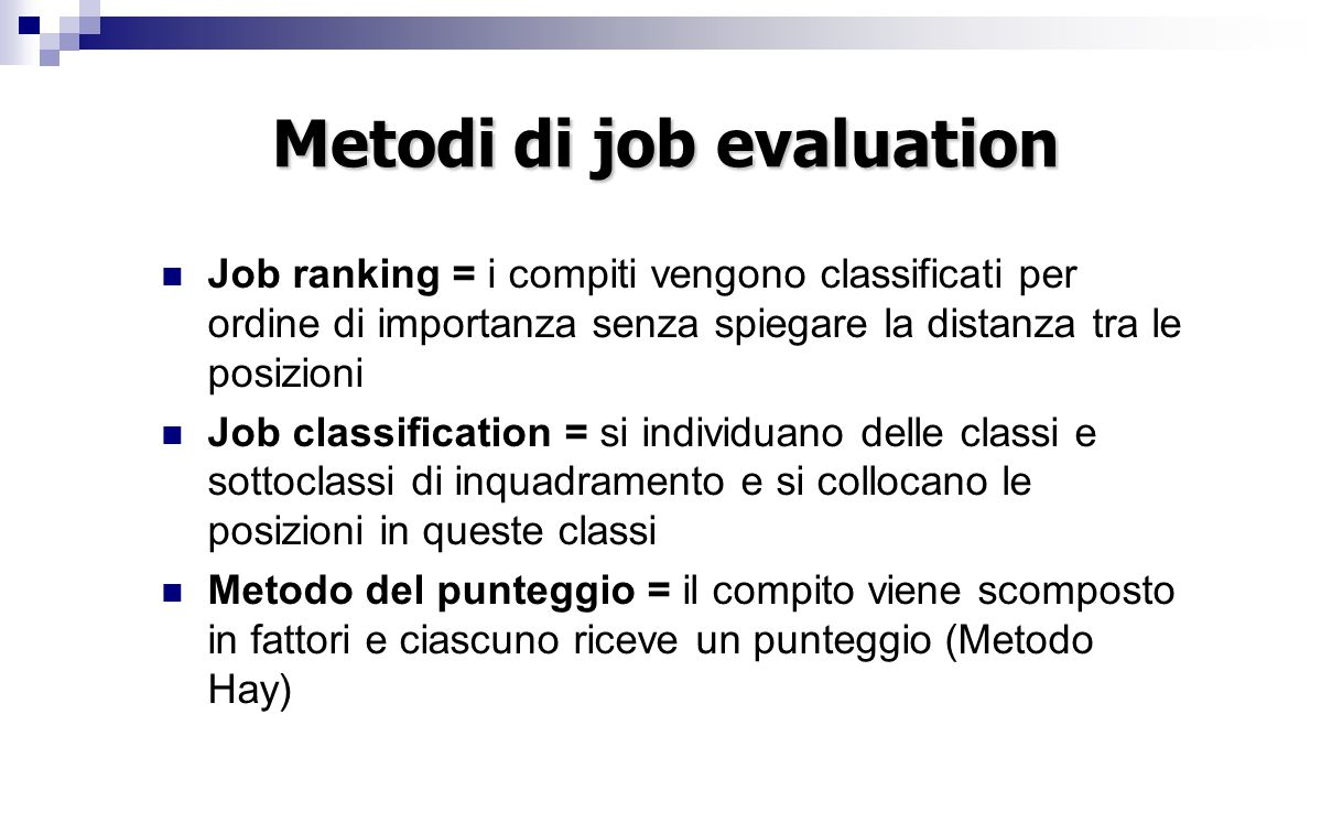 Metodi di job evaluation