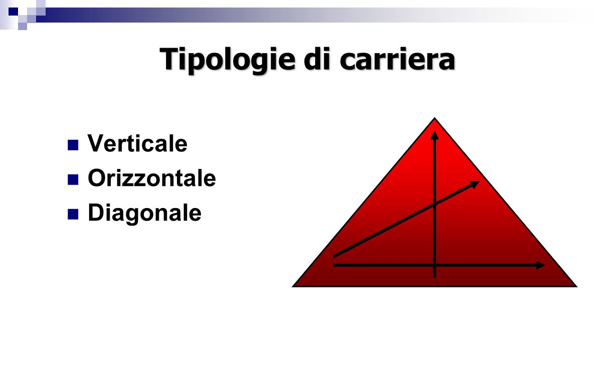 Tipologie di carriera Verticale Orizzontale Diagonale