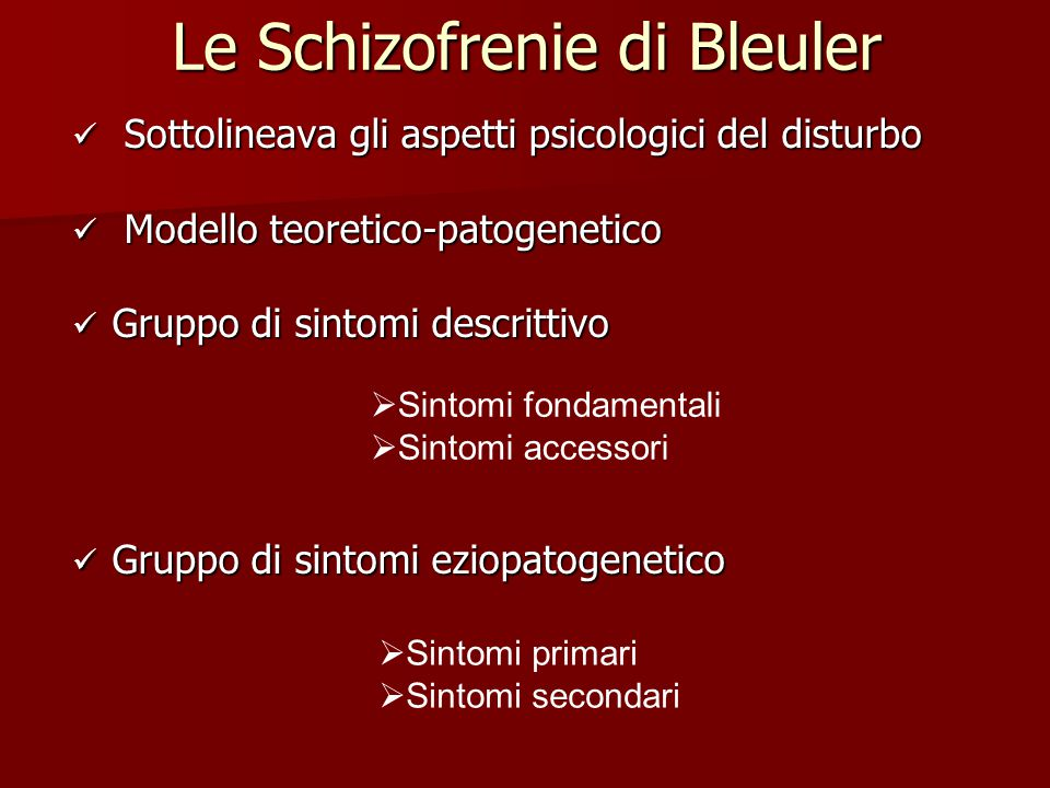 Le Schizofrenie di Bleuler
