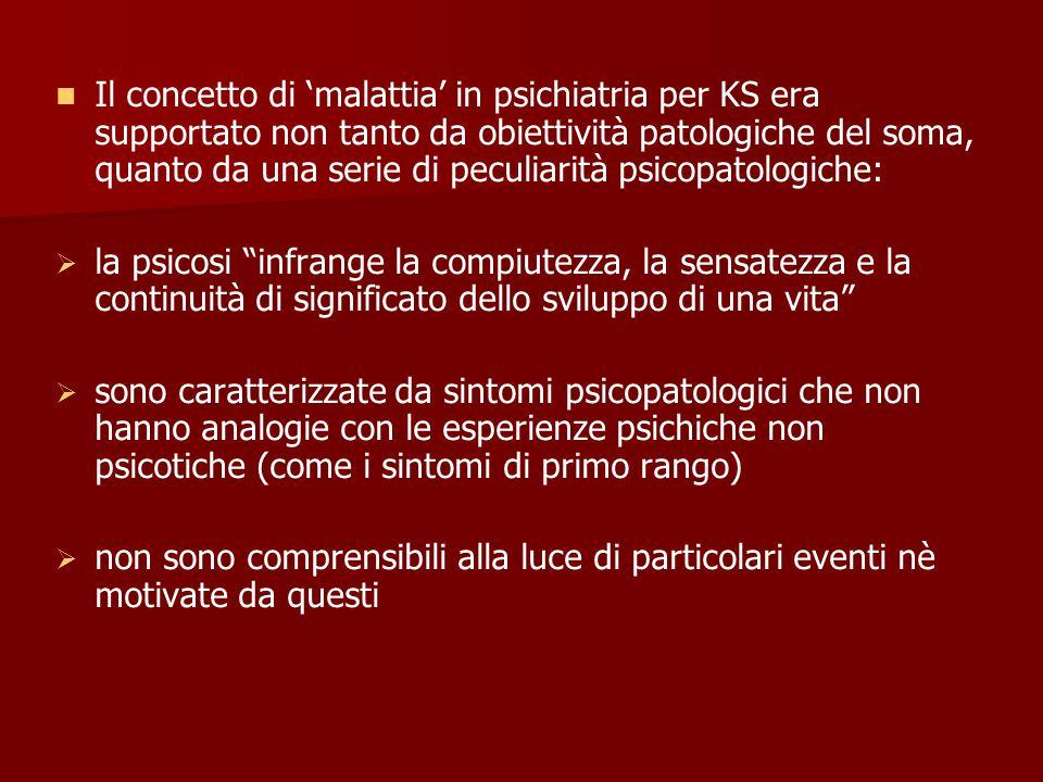 Il concetto di 'malattia' in psichiatria per KS era supportato non tanto da obiettività patologiche del soma, quanto da una serie di peculiarità psicopatologiche: