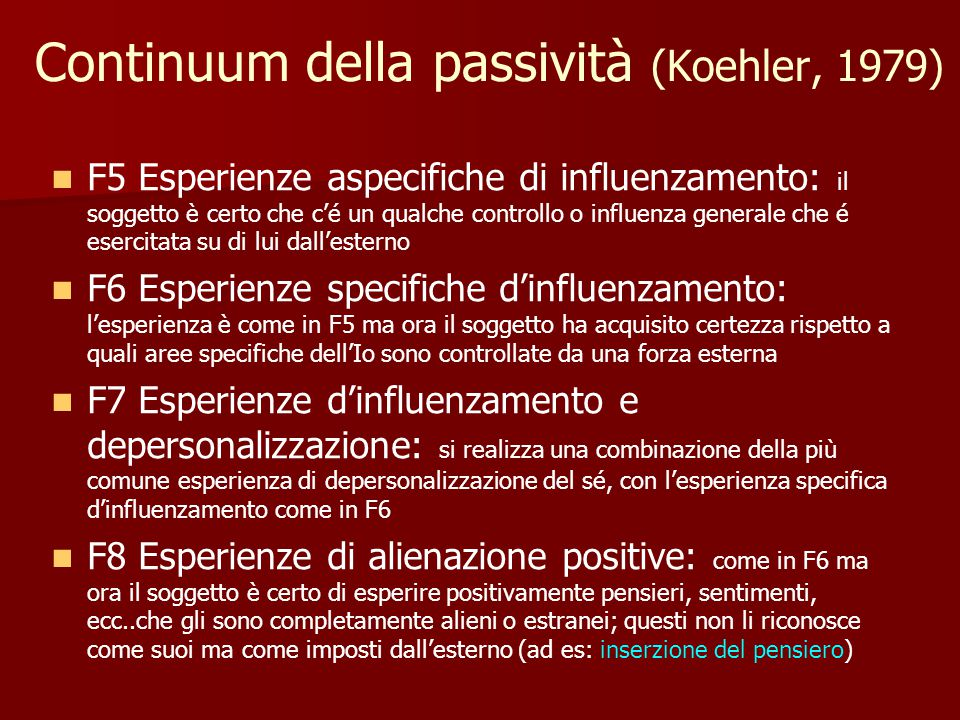 Continuum della passività (Koehler, 1979)