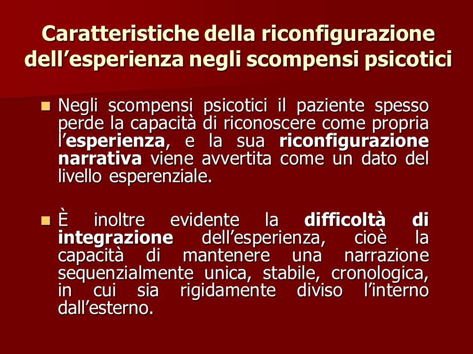 Caratteristiche della riconfigurazione dell'esperienza negli scompensi psicotici