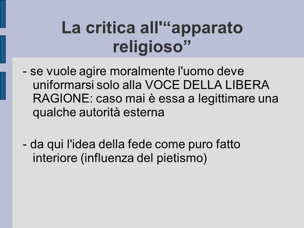 La critica all apparato religioso