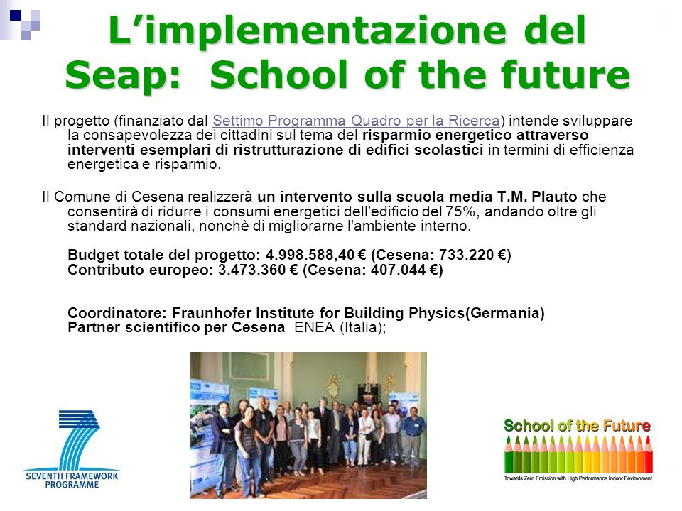 L'implementazione del Seap: School of the future