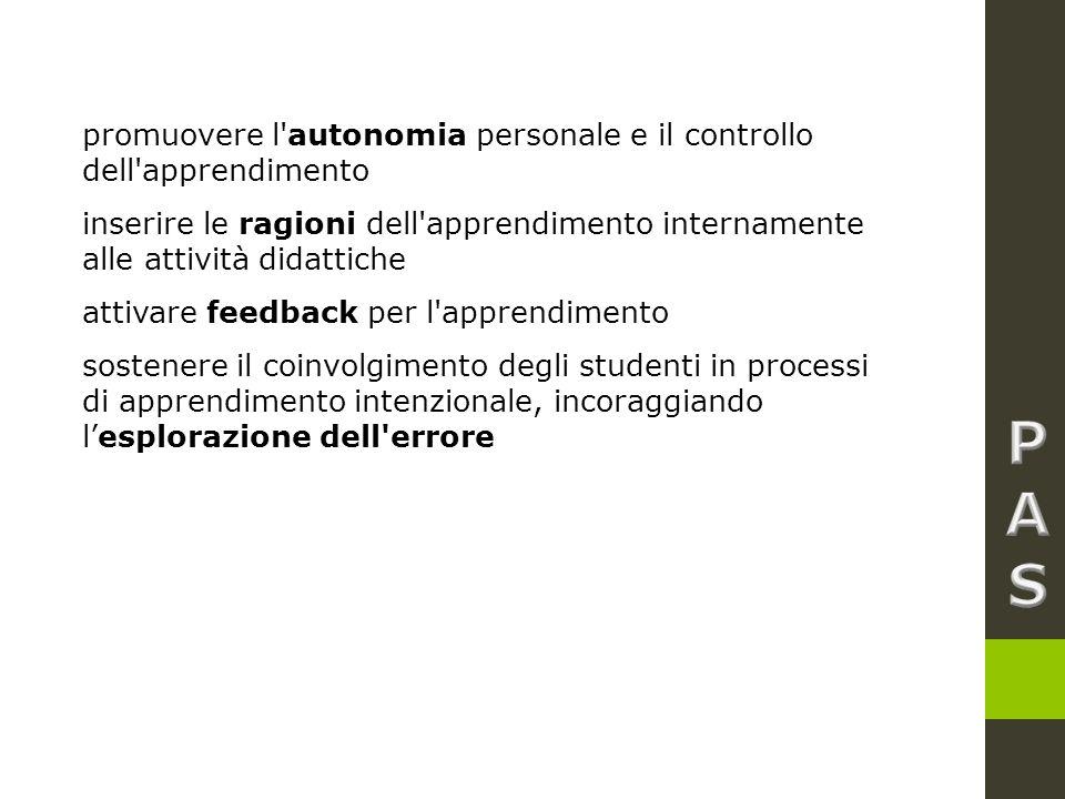 promuovere l autonomia personale e il controllo dell apprendimento