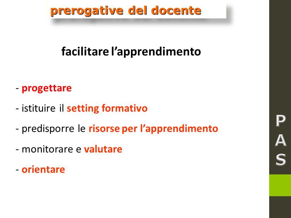P A S facilitare l'apprendimento prerogative del docente - progettare