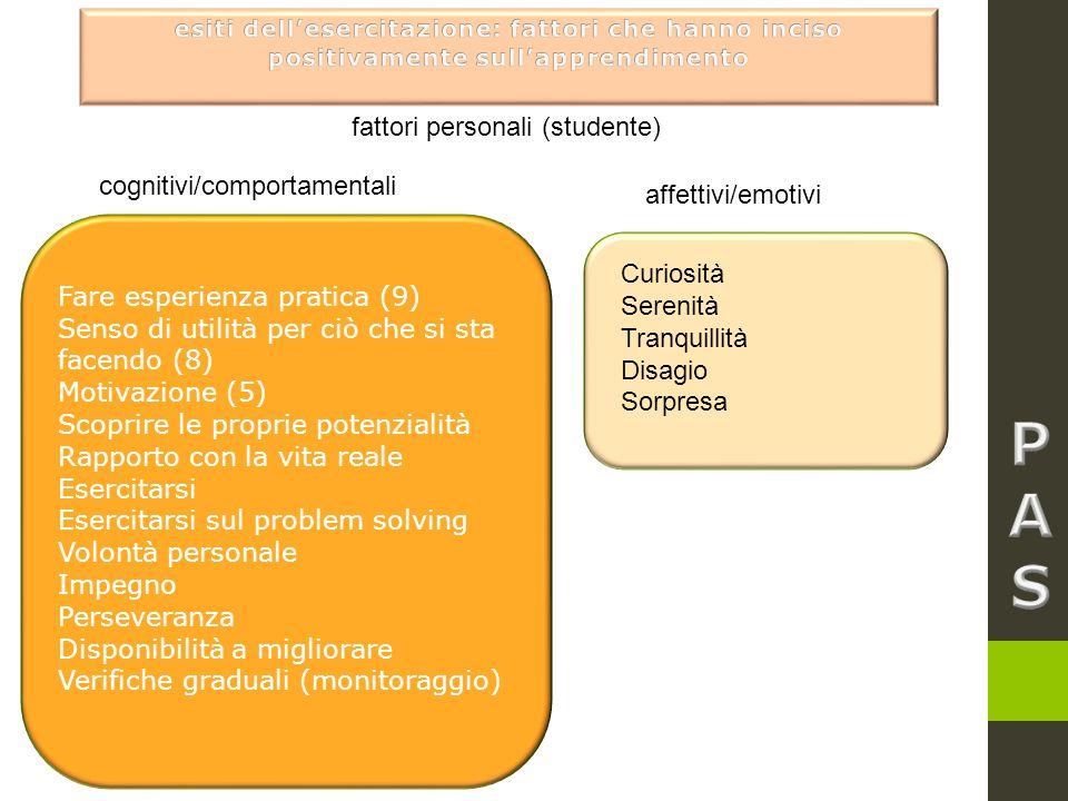 P A S fattori personali (studente) cognitivi/comportamentali