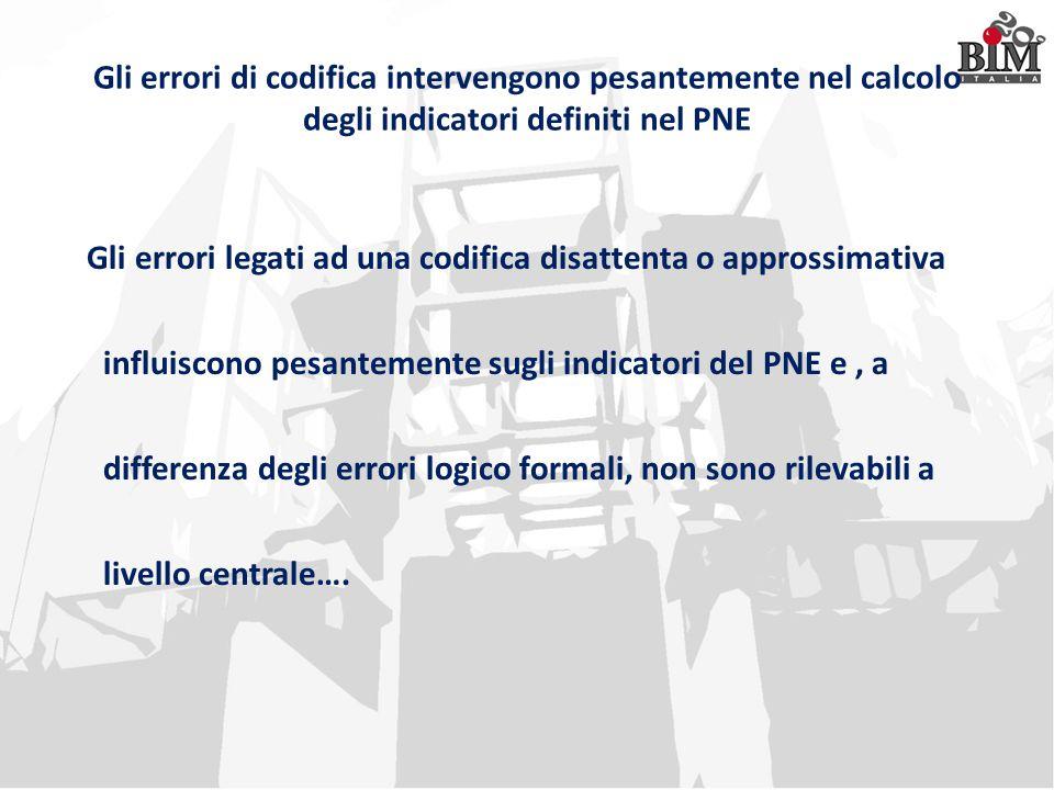 Gli errori di codifica intervengono pesantemente nel calcolo degli indicatori definiti nel PNE