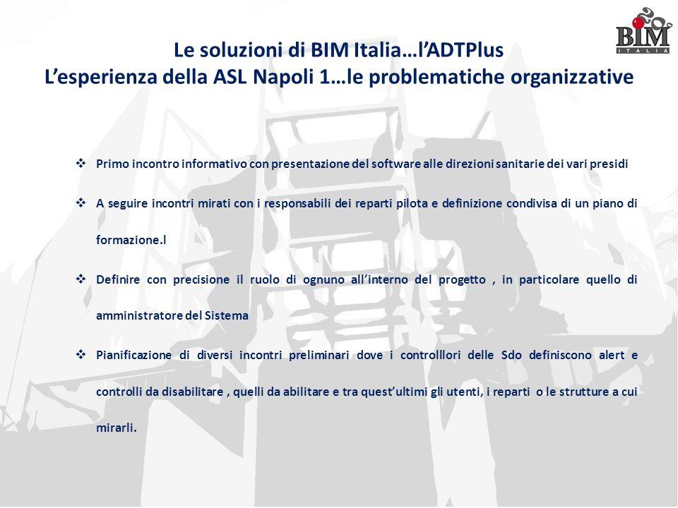 Le soluzioni di BIM Italia…l'ADTPlus L'esperienza della ASL Napoli 1…le problematiche organizzative