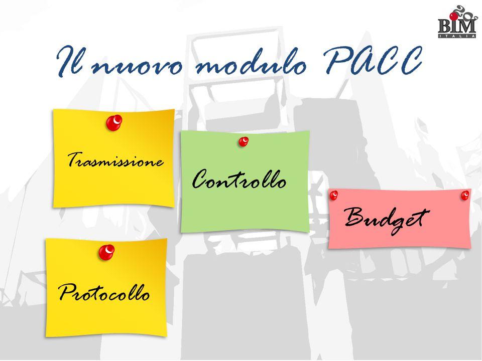 Il nuovo modulo PACC Trasmissione Controllo Budget Protocollo