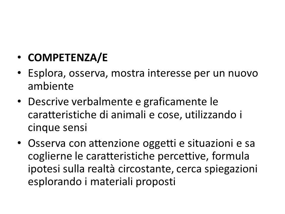 COMPETENZA/E Esplora, osserva, mostra interesse per un nuovo ambiente.