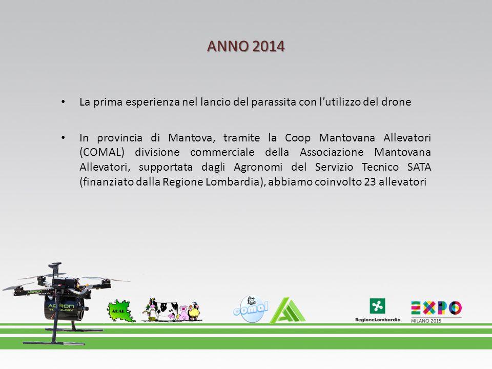 ANNO 2014 La prima esperienza nel lancio del parassita con l'utilizzo del drone.