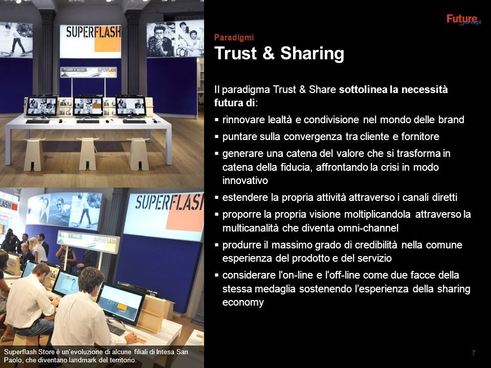 Paradigmi Trust & Sharing. Il paradigma Trust & Share sottolinea la necessità futura di: rinnovare lealtà e condivisione nel mondo delle brand.